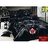 3D Puma, schöne 3-teiling Bettwäsche Set mit Reißverschluss, 135x200cm, 100% Baumwolle.