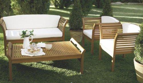 Sitzmöbel Lounge-stuhl (MALAGA: Loungeset 4-teilig, Eukalyptus geölt, mit Polstern creme, FSC®-zertifiziert)