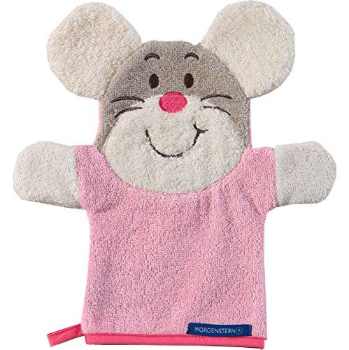 Morgenstern, Figuren - Waschhandschuh, Motiv Maus, Farbe rosa, Material Baumwolle, Handpuppe, Waschlappen (Motiv-100% Baumwolle-maschine)