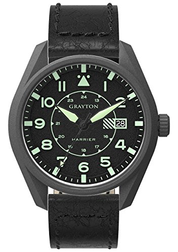 Grayton Harrier Men's Quartz Watch with Black Dial Analogue Display and Black Leather Strap GR-0014-005.5