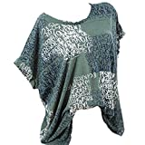 VJGOAL Damen T-Shirt, Damen Mode Kurzarm V-Ausschnitt Spitze gedruckte Spitze Tops Sommer lose T-Shirt Bluse (S / 40, X-Briefe-grün)