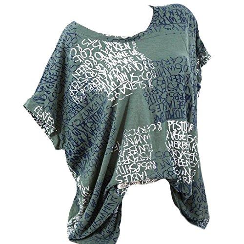 , Damen Mode Kurzarm V-Ausschnitt Spitze Gedruckte Spitze Tops Sommer Lose T-Shirt Bluse (L/44, X-Briefe-Grün) (Sexy Kostüme Ideen Für Frauen)