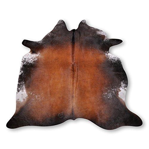 Premium Kuhfell Teppich aus Südamerika - 100% Naturprodukt - hell dunkel braun gesprenkelt L215 x B200cm
