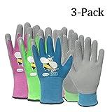 Vgo Glove Guantes de jardín para niños , guantes de trabajo y de jardinería cubiertos de goma espuma (3 pares, 3 colores, talla para niños 3-5, 6-10)
