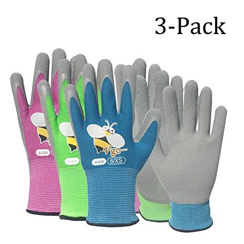 Vgo Glove Arbeitshandschuhe für Kinder mit Schaumlatex Gummibeschichtung, Garten- und Arbeitshandschuhe (3 Paare, Violet & Grün & Blau mit Bieneprint)
