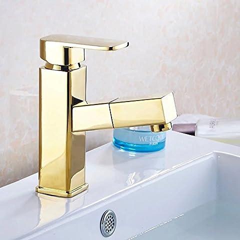 YJJ Latón telescópica grifo del lavabo del cuarto de baño gabinete caliente y fría
