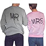 Bekleidung Loveso Pullover Herbst Winter Valentine Couple Lover Kleidung Grau MR. and Rosa MRS. Tops Bluse Streetwear Streetwear Shirt Mantel Outwear ((Größe):36 (M), Mrs (Rosa))