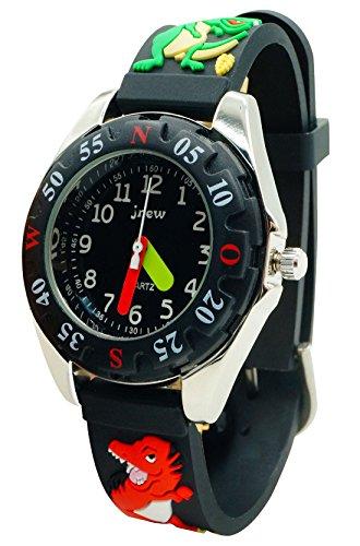 JNEW - Reloj Resistente al Agua para Niños Modelo de Dragón 3D Divertido Reloj de Pulsera Analógico de Cuarzo Reloj Deportivo Infantil Watch - Negro