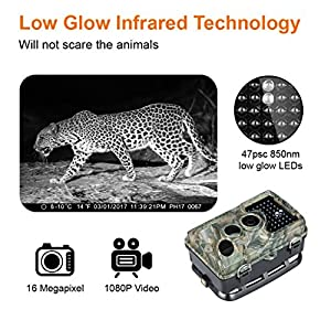 """ENKEEO PH760 Game Camera 1080P 16MP HD Trail Camera Wildlife Hunting 47pcs 850nm IR Night Vision IP56 Water Resistant with 0.2s Trigger Time 2.4"""" LCD Screen"""