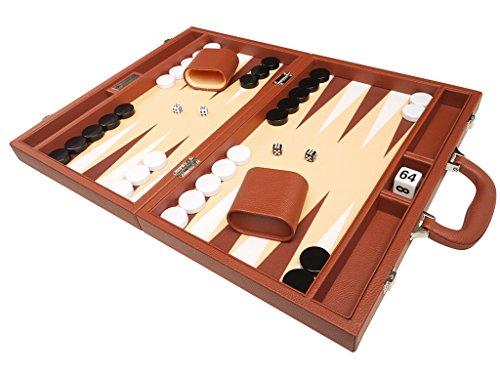 40 x 53 cm Premium-Backgammon-Set - Desert Brown