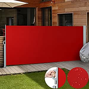 Jago Seitenmarkise Sonnenschutz Sichtschutz Windschutz - diverse Farben und Größen (rot / 160x300cm/ SMKS01-160RT)