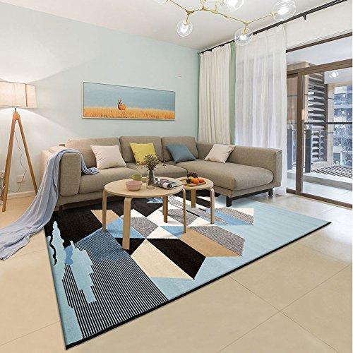 LiuJF Traditioneller Teppich, geometrisches Muster blau schwarz Stitching Couchtisch Matte Wohnzimmer Sofa Matte | Länge 80-140 cm (größe : 140 * 200CM)