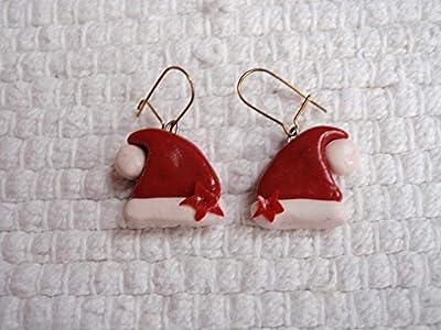 """Boucles d'oreilles """"Bonnets du Père Noël"""" en pâte Fimo"""