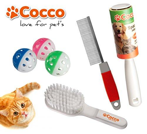 Set accessori per il gatto. Spazzola, pettine, 3 giochi e spazzola adesiva per togliere i peli da divani e tappeti.