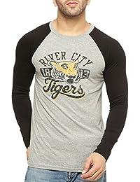 Gritstones Round Neck Full Sleeve Ranglan Printed T Shirt GSPNTRGLN1326GMBLK