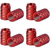 Tapas de Válvulas de Neumático de Coche Tapones de Válvulas de Rueda Tapa de Neumático a Prueba de Polvo, 8 Piezas (Rojo)