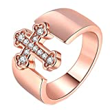 Purmy Damen Ring Rosengoldbeschichtet Weiß Cubic Zirconia Kreuz Form Simple Stil zum Damen Geschenk Größe 52 (16.6)