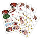 100 Weihnachtsaufkleber Weihnachtssticker XMAS mit verschiedenen Motiven oval 60 x 35 mm, auf DIN A5 Bogen (5 x 20 Aufkleber), Haftpapier glänzend, Weihnachtetiketten