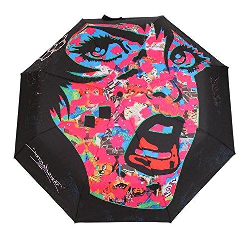 JAYLONG Paraguas de viaje 8 costillas ilustración personalizada Construcción robusta portátil de acero inoxidable Paraguas plegable de secado rápido a prueba de agua para mujeres, hombres, niños y niños , A