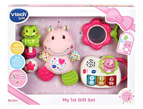 VTech My First Gift Set New Baby Gifts   Newborn Baby Toys Including Hippo Animal Plush, Baby Teether, Baby Rattle & Baby Musical Toy   Baby Toys 0, 6, 12 Months and Over for Boys & Girls, Pink