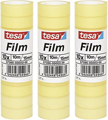 30 Rollen tesafilm Klebeband, Großrollen, Standard, 10m x 15mm