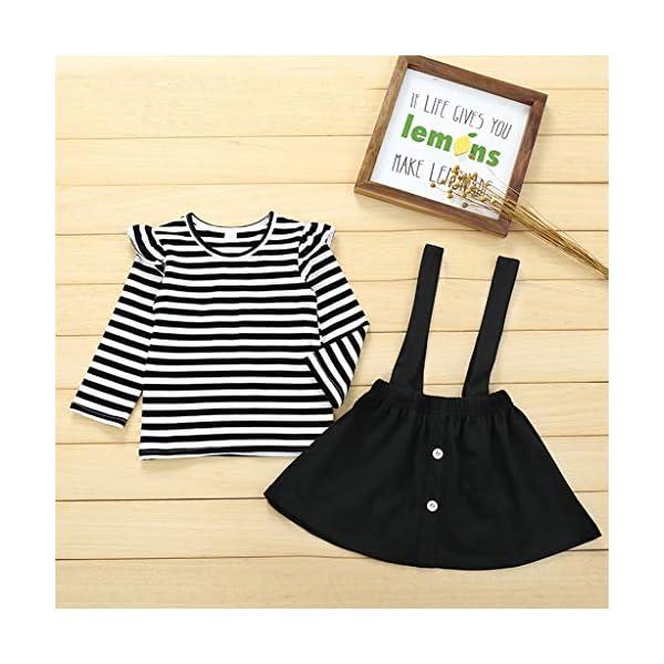 Conjuntos para bebés, Invierno Niños pequeños Bebés Niñas Camiseta de Manga Larga a Rayas Tops Correa Tirantes Faldas… 3