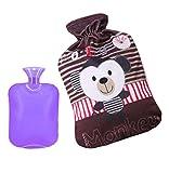 2L Purple Color Hot Water Bottle + Cute/Lovely Monkey Style Fleece Cover