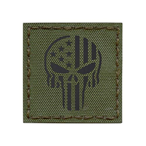 IR OD Green Punisher Skull USA Flag 2x2 Olive Drab Infrared Tactical Morale Hook-and-Loop Patch