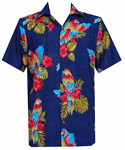 Hawaiihemd mit Papageien-Motiv, bedruckt, Blau, aus Polyester, für Strand, Camping, Party, Aloha-Hemd Gr. XL, marineblau (Hawaiian Bahama Shirt)