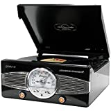 Groov-e Retro Series Vinyl Player with Radio & Built-in Speakers - Black