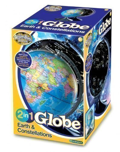New Kids 2 In 1 Day Night Glow Globe Earth & Constellations Illuminated Gift Toy by Brainstorm
