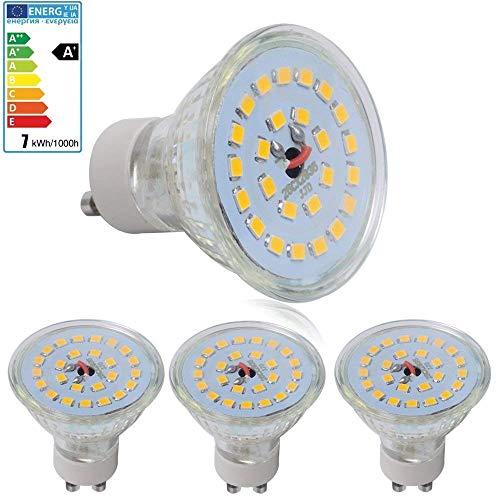 4-er Set 7 Watt GU10 LED Lampen, Ersatz für 60W Halogenlampen, 560lm, Warmweiß, 3000K, 120° Abstrahwinkel, 230V AC SMD 2835 LED Spot Strahler [Energieklasse A+]
