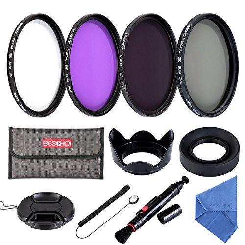 Beschoi 52MM Filtro Kit(UV+CPL+FLD+ND4)+Petalo Paraluce + Centro Pinch Copriobiettivo +