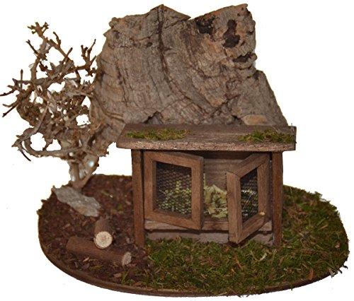 Hasen-Stall mit 4 Kaninchen vor Korkfelsen und Strauch Krippenzubehör