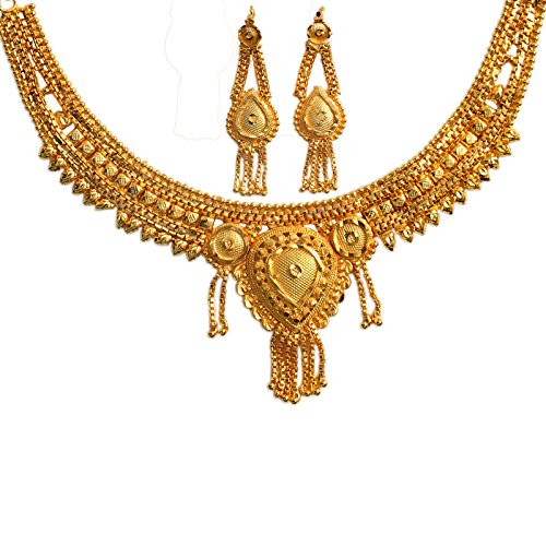 Mansiyaorange Traditional One Gram Gold Original Look Wax Forming Golden Necklace Set For Women  available at amazon for Rs.365
