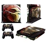 MightyStickers Protective Vinyl Skin Decal Cover for Sony PlayStation 4 PS4 Console & Remote DualShock 4 Controller Sticker Skins - Marvel Superhero Iron Man Helmet Front and Side Head by MightyStickers