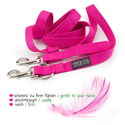 KURI PAI Pinke Hundeleine Für Große Kräftige Hunde, Mehrfach Verstellbar, 3m Leine (1,5m - 2,8m) Doppelleine (2.5cm breit, Pink), Für Zwei Hunde, Umweltfreundlich Aus Bambus - 6