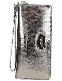 Las mujeres de Michael Kors Jet Set Continental cremallera alrededor de tipo cartera correa de muñeca espejo metálico