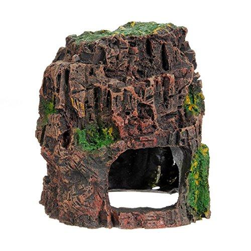 FOCUSPET Aquarium Deko Felsen Häuschen Höhle Stein Versteckt Felsenhöhle Für Fisch Tank