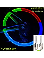 Schildkröt Fun Sports Uni Wheel Bee Bicycle Light Twister 2unidades flash luz de rueda de luz (Válvula de Neumáticos iluminación para válvula de bicicleta LED Lámpara, multicolor, One size