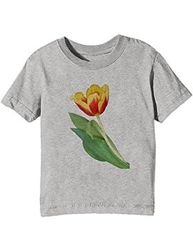 Tulipán Niños Unisexo Niño Niña Camiseta Cuello Redondo Gris Manga Corta Todos Los Tamaños Kids Unisex Boys Girls...
