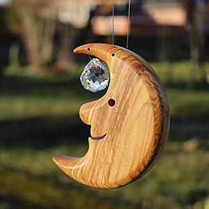 Fensterdeko hängend Mond klein | Fensterdeko zum Aufhängen | Bleikristall mit Holz | Mond Deko | HANDARBEIT | Sonnenfänger | Fenster Deko aus Holz