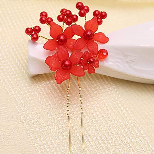 FELICIPP Brötchen Braut Headwear Perle Blume haarnadel Hochzeit Haarschmuck 15 stück (Farbe : Red) -