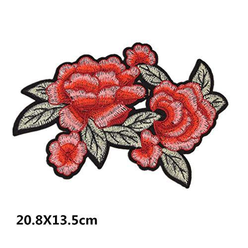 Bella 1pz Toppe Termoadesive Patch Applique Toppa Rose Fiore Grande Ape Lettere Ricamato Craft Iron On Sew On per Felpa T-Shirt Cappotto