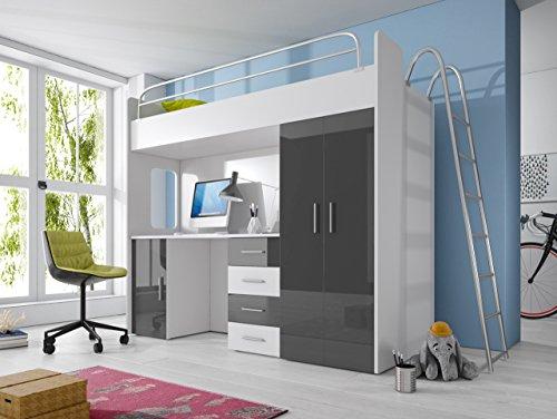 Furnistad | Hochbett für Kinder Smart | Kinderhochbett mit Leiter, Schreibtisch und Schrank (Option rechts, Weiß + Grau)