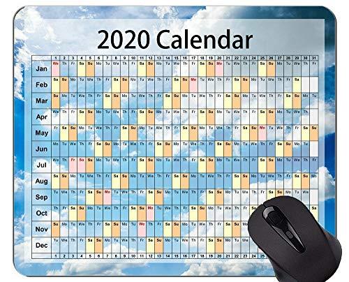 Yanteng Tappetino per Mouse da Gioco Calendario 2020 Personalizzato, Tappetino per Mouse a Tema Cielo Blu per Ufficio
