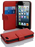 Cadorabo PREMIUM - Book Style Tasche im Wallet Design für Apple Iphone 5 / 5S / 5G, Rot (INFERNO RED)
