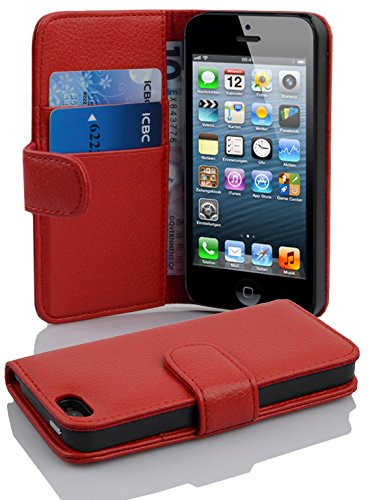 Cadorabo PREMIUM - Book Style Tasche im Wallet Design für Apple Iphone 5 / 5S / 5G, Rot (INFERNO RED) - Apple Wallet