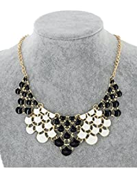TBOP NECKLACE THE BEST OF PLANET Simple And Stylish Jewelry Fish Scale Metal Necklace In Black And White Color...