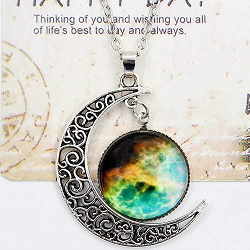 KaiMeiLong:Damen Opal Pendant Halskette Lange Halskette Graviert Moon Galaxis Halbmond Billig Zauber Damas Europäisch Modisch